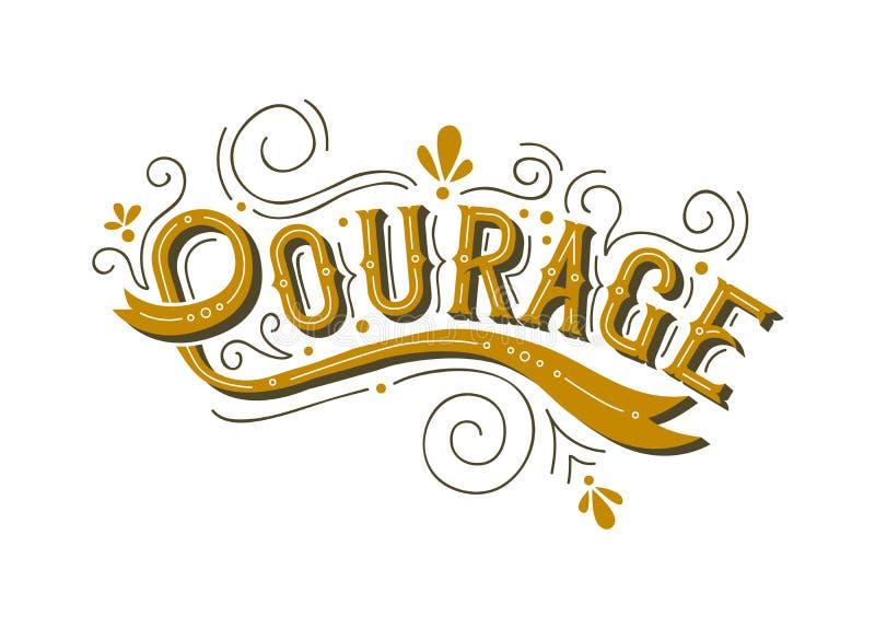 勇气字法生活刺激的文本概念 库存例证