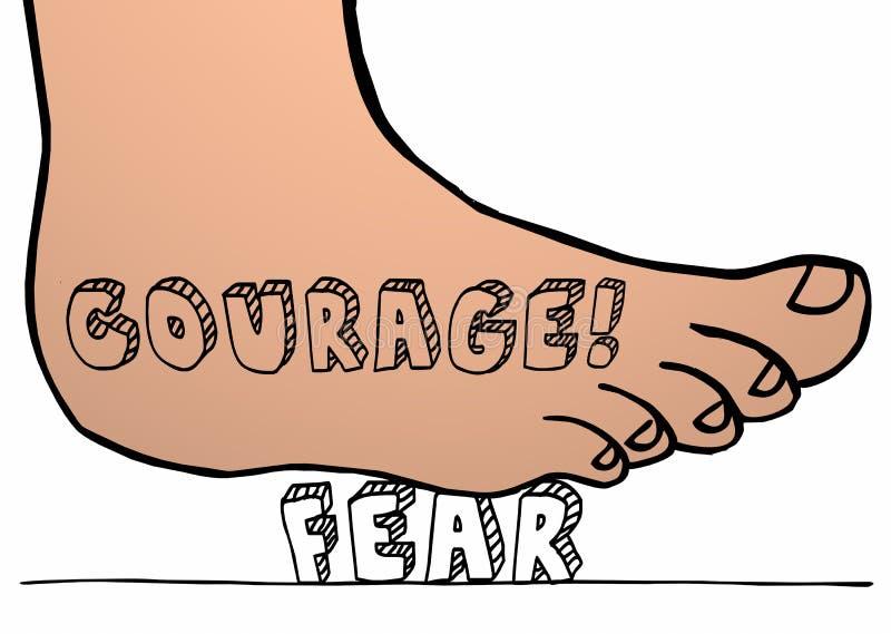 勇气对击碎重踏在词的恐惧脚 库存例证