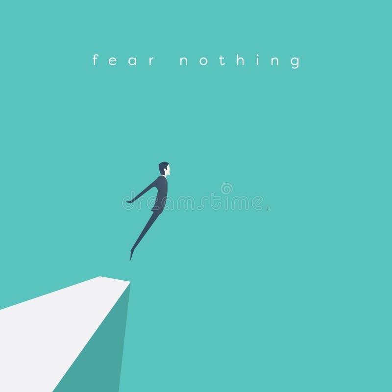勇气的企业概念 跳峭壁的商人当标志勇敢的领导和进步 向量例证