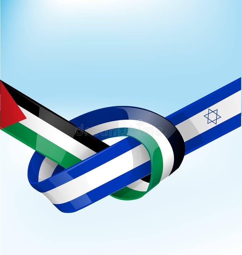 巴勒斯坦和以色列丝带旗子 库存例证