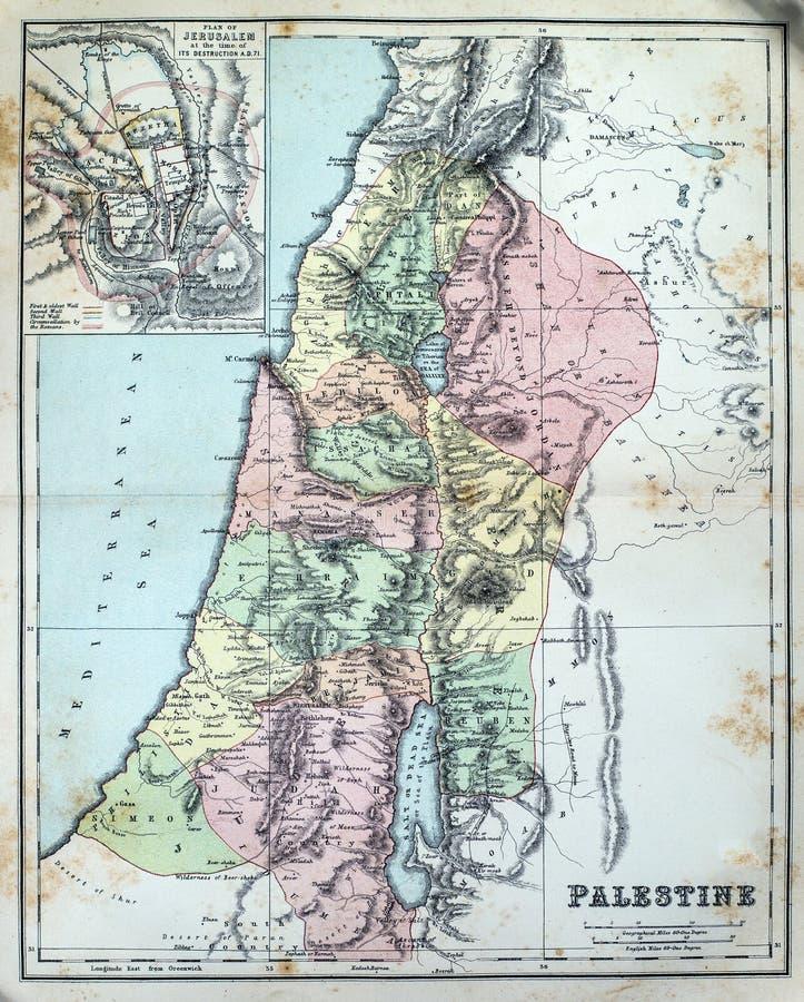 巴勒斯坦的古色古香的地图 免版税库存图片