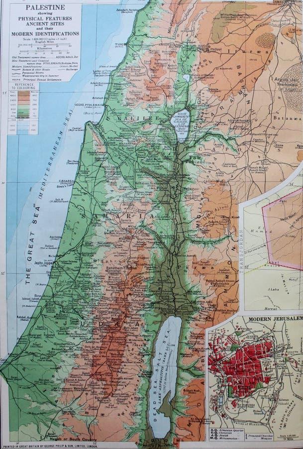 巴勒斯坦,中东的老1945地图 库存例证