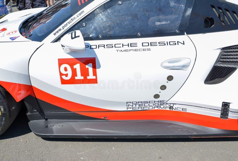 勒芒,法国- 2017年6月17日:保时捷911 RSR保时捷GT的博览会合作 免版税库存照片