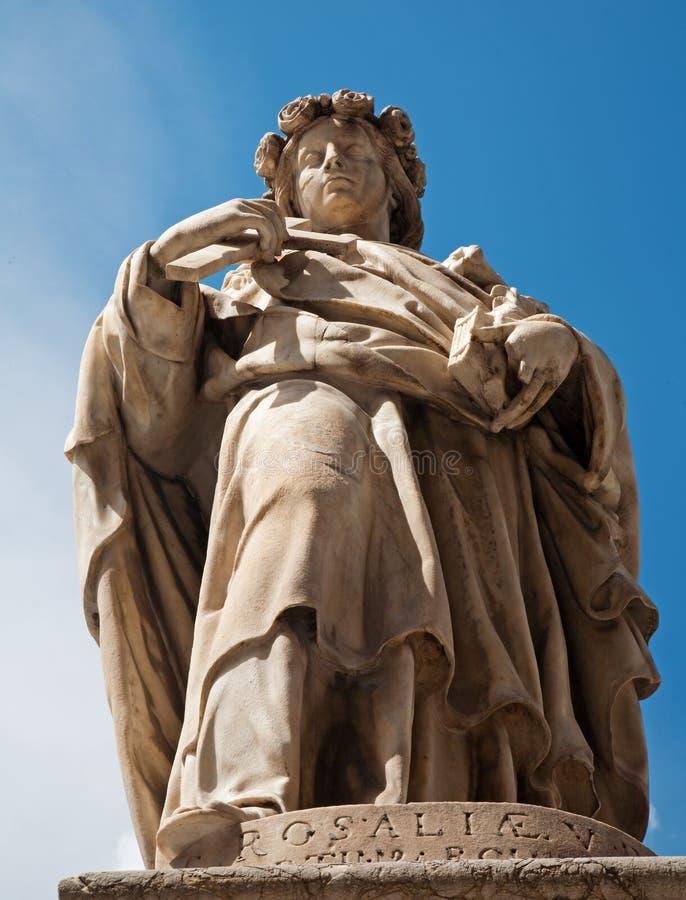 巴勒莫-城市的圣塔罗萨莉娅赞助人雕象  图库摄影