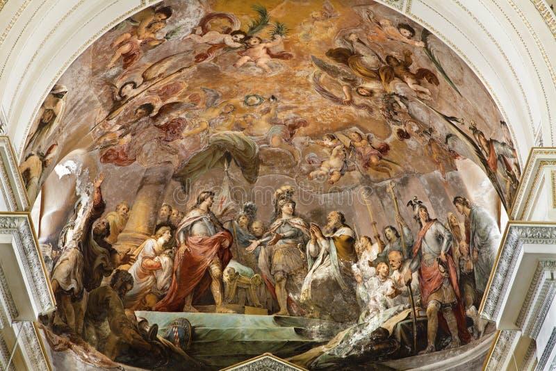 巴勒莫-从大教堂或中央寺院主要近星点的壁画  免版税库存照片