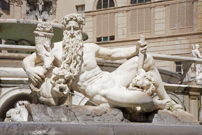 巴勒莫-神雕象从佛罗伦丁的喷泉的 免版税图库摄影