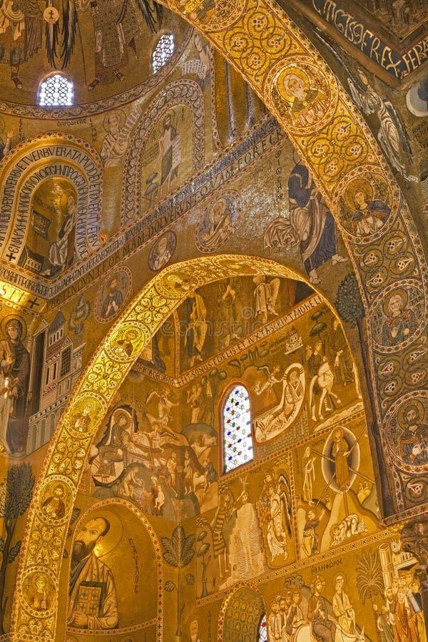 巴勒莫- Cappella Palatina -帕勒泰恩教堂马赛克在诺曼底宫殿 免版税库存照片
