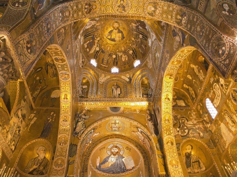 巴勒莫- Cappella Palatina -帕勒泰恩教堂马赛克  免版税库存照片