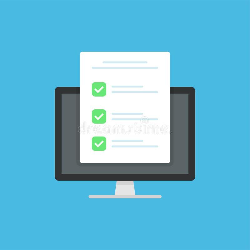 勘测形式象,平的与笔,测验形式想法,采访评估的样式好考试结果纸板料,通过了查询表, 向量例证