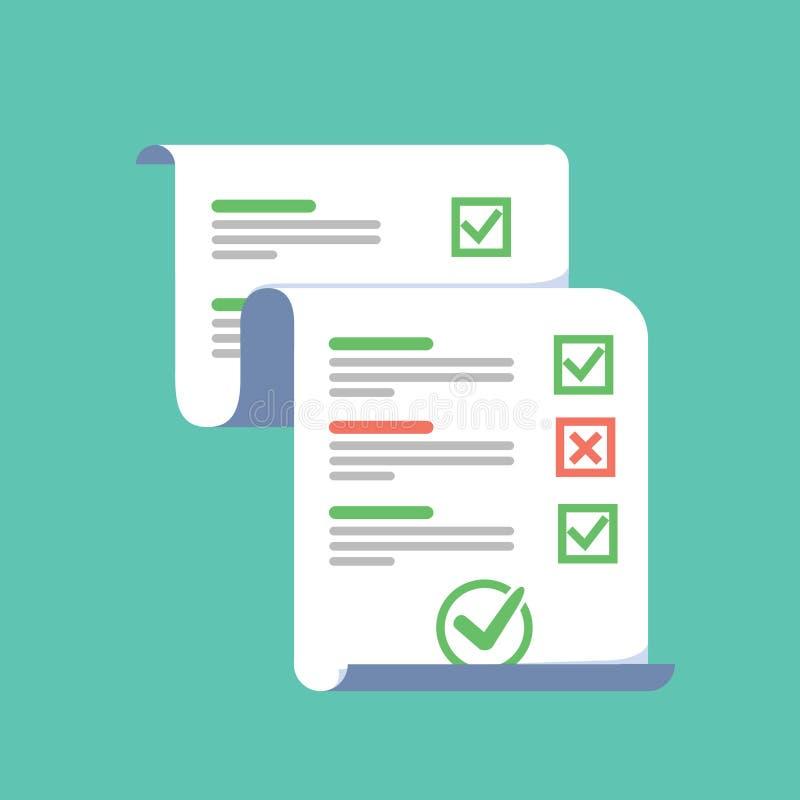 勘测或检查形式与被回答的测验checklis的长论文板料 皇族释放例证