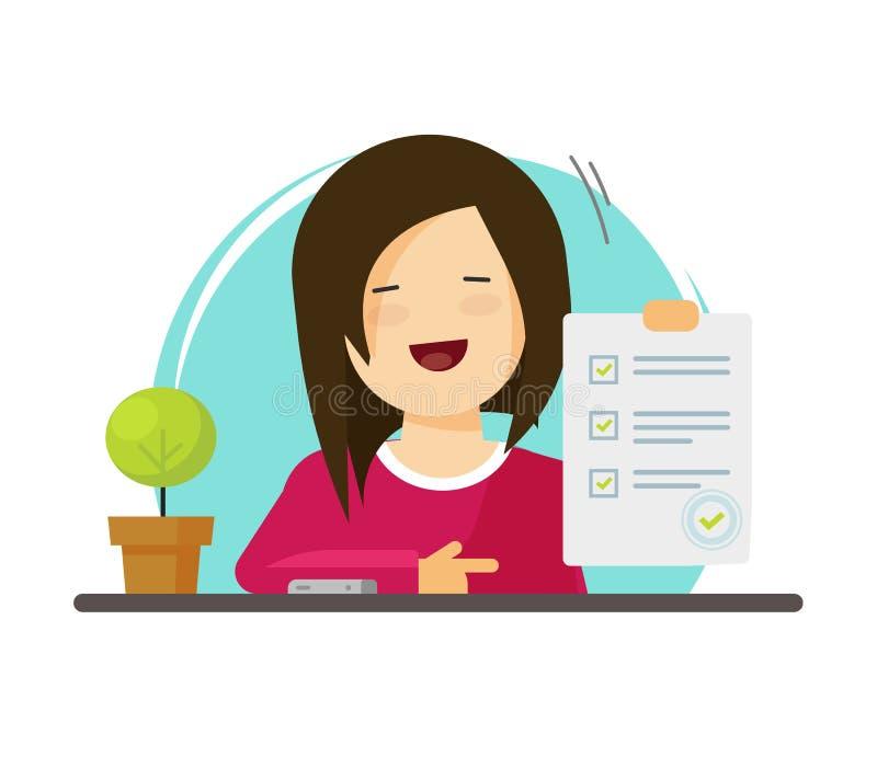 勘测或检查形式纸板料在手中学生女孩,被回答的测验清单,成功结果评估,愉快的人 库存例证