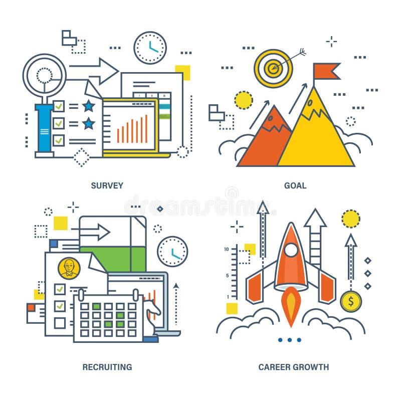 勘测,目标,吸收,事业成长的概念 向量例证