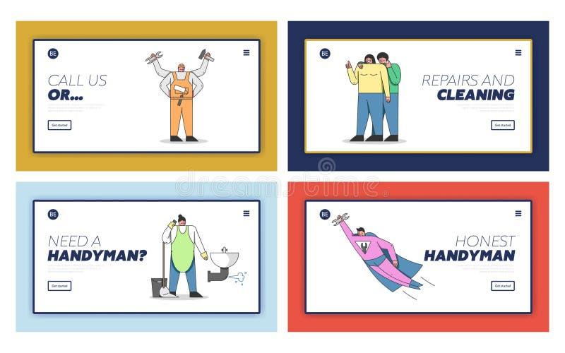 勤杂工人 网站登录页 带工具、设备的统一工人快速家居维修 库存例证