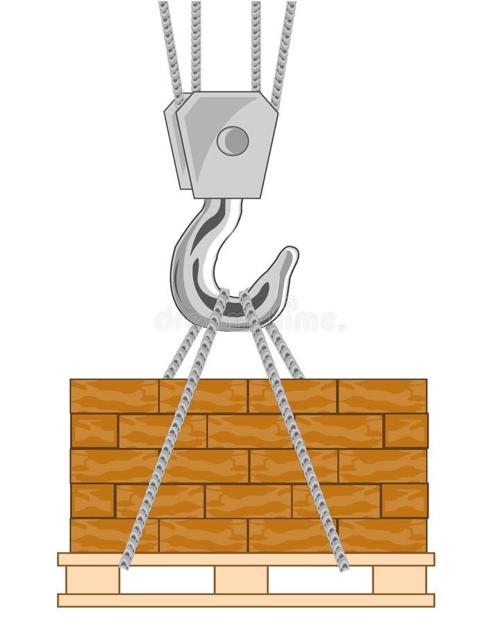 勾子的传染媒介例证从卸载砖的轻拍的 皇族释放例证