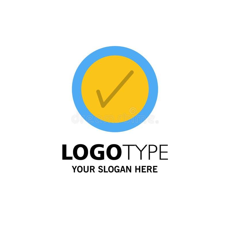 勾选、界面、用户业务徽标模板 平整颜色 皇族释放例证