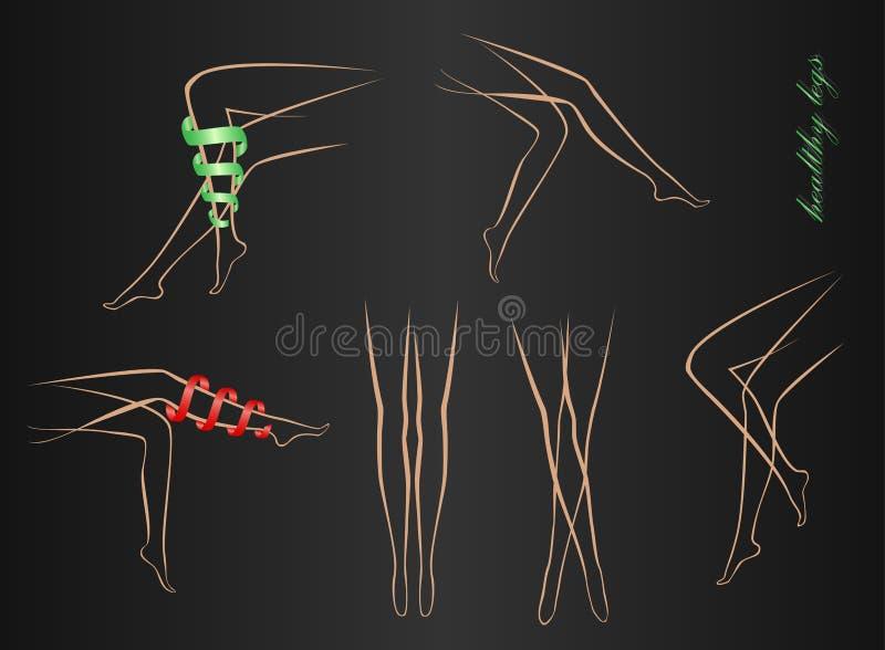 匀称女性腿等高以在黑背景的各种各样的姿势 库存例证