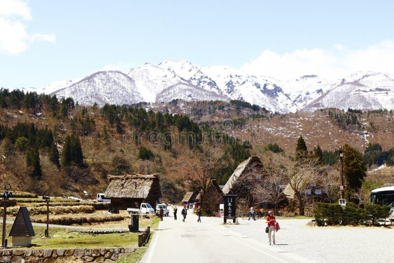 包含历史的村庄的snowberg白川町去 免版税图库摄影