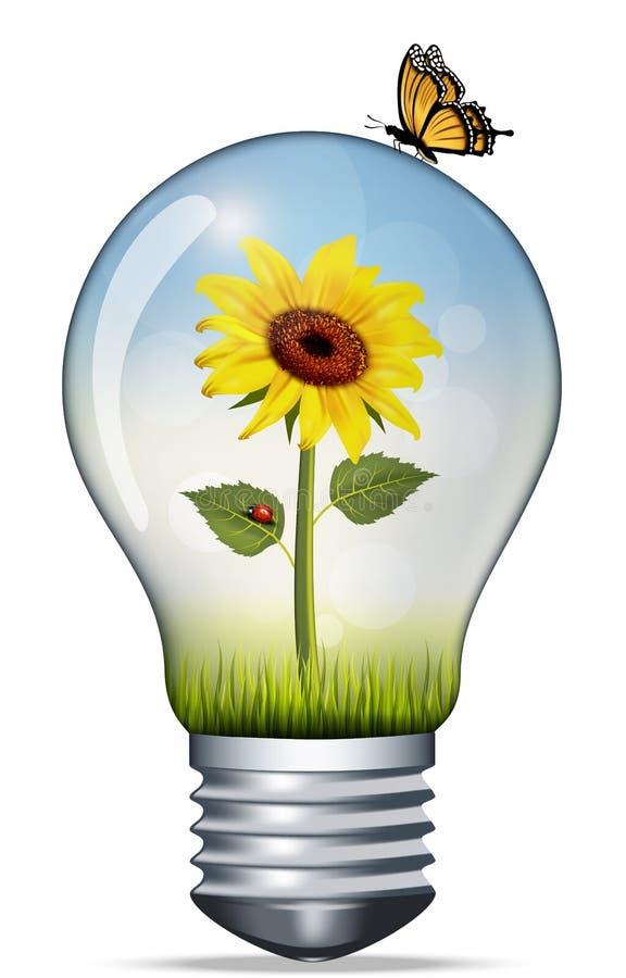 包含向日葵和瓢虫的一个电灯泡的例证 环境和绿色能量概念 免版税图库摄影