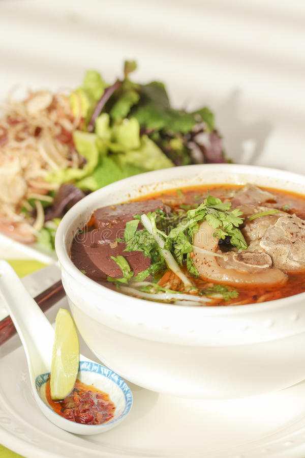 包含米细面条和牛肉的越南汤 免版税库存图片