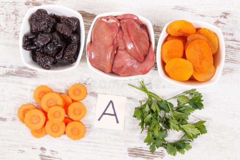 包含维生素A,健康营养的概念的滋补产品当来源矿物 库存图片