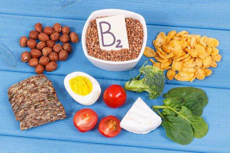 包含维生素B2、自然矿物和纤维,健康营养的滋补成份 免版税图库摄影