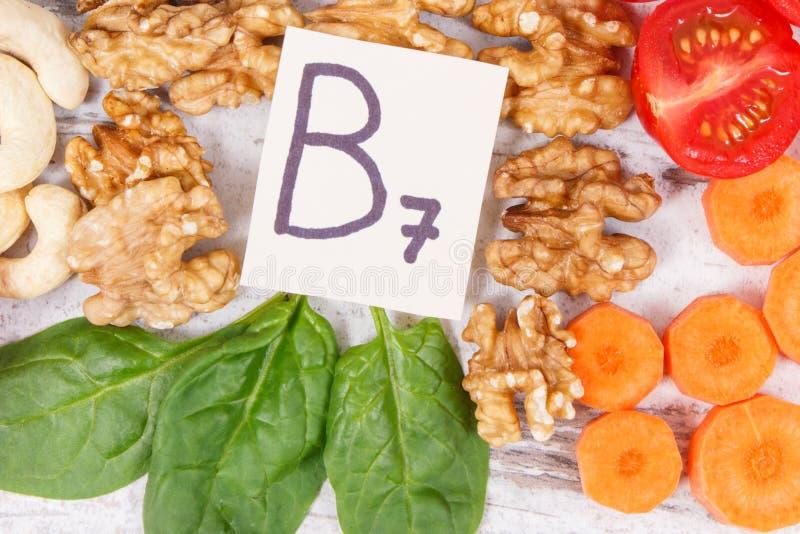 包含维生素B7和饮食纤维,健康营养的滋补产品 库存图片
