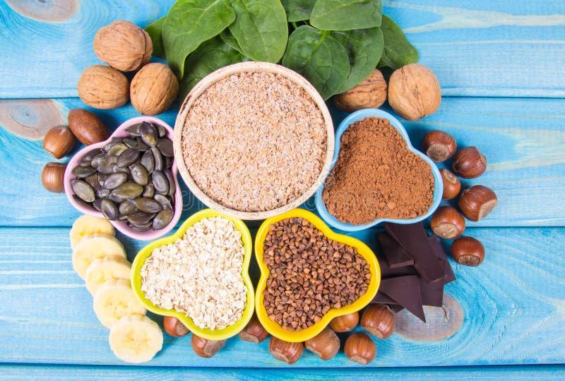 包含镁的产品 健康的食物 库存图片