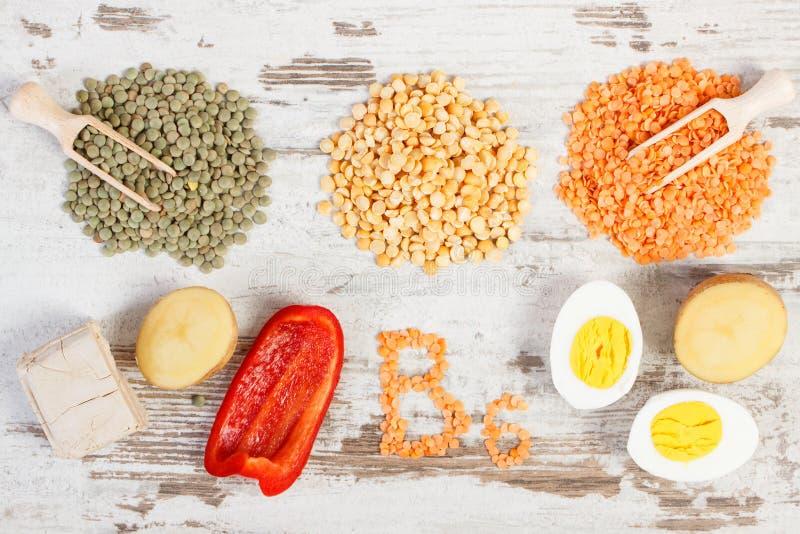 包含维生素B6和饮食纤维,健康营养的产品和成份 库存照片
