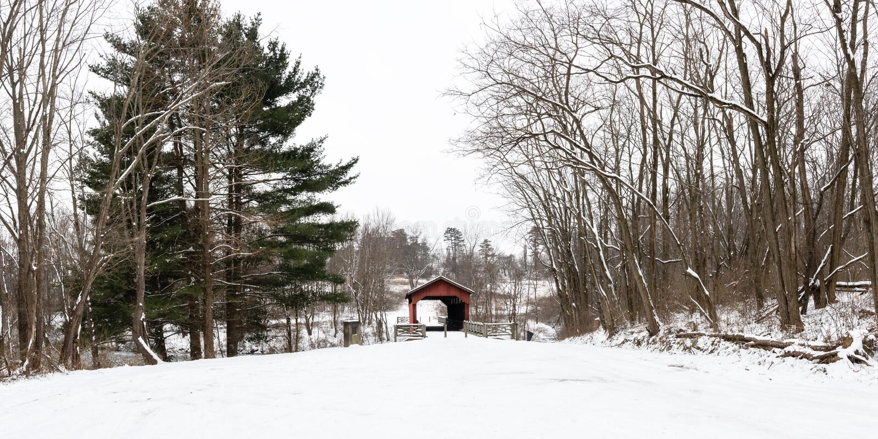 包含Shaeffer坎伯被遮盖的桥的公园的全景 免版税库存图片