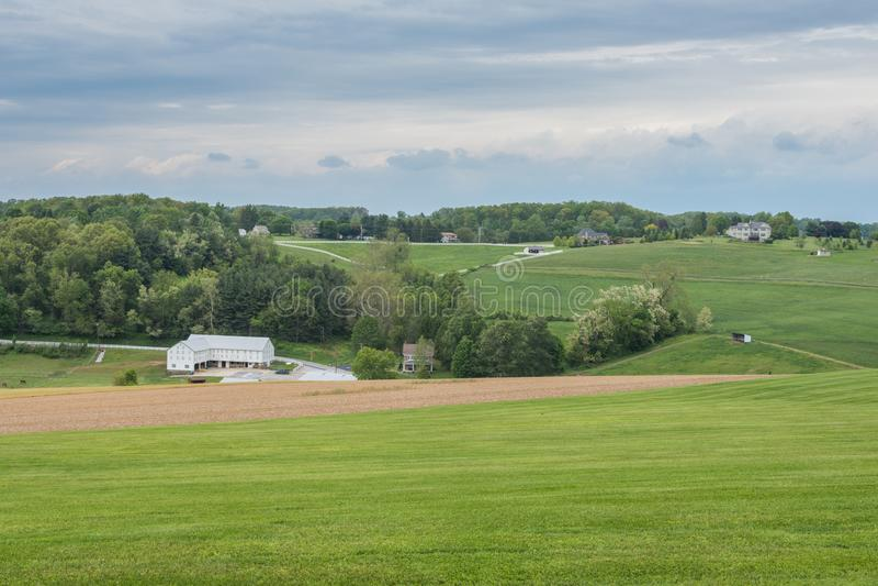 包围威廉卡因公园的农田在约克县, Pennsylva 免版税库存图片