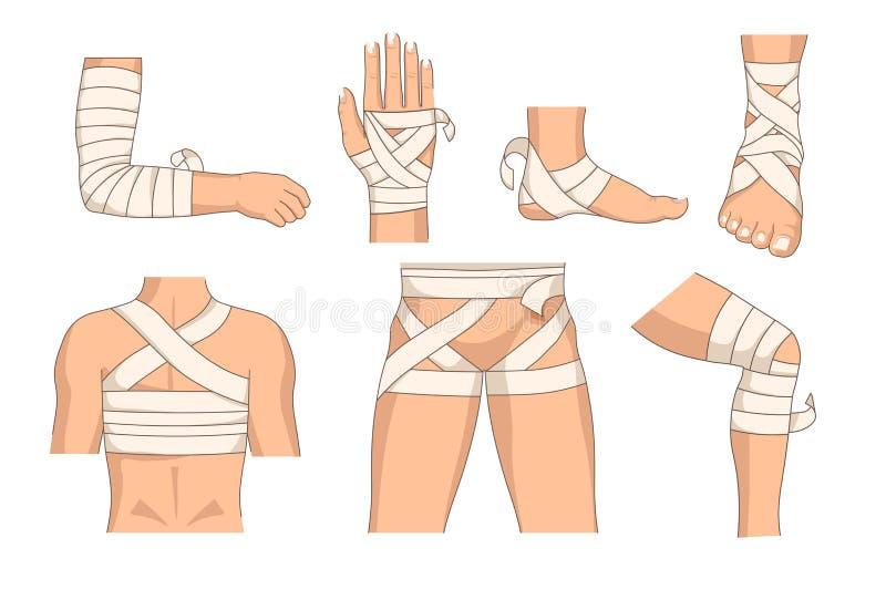 包扎身体局部包扎人体伤害传染媒介 向量例证