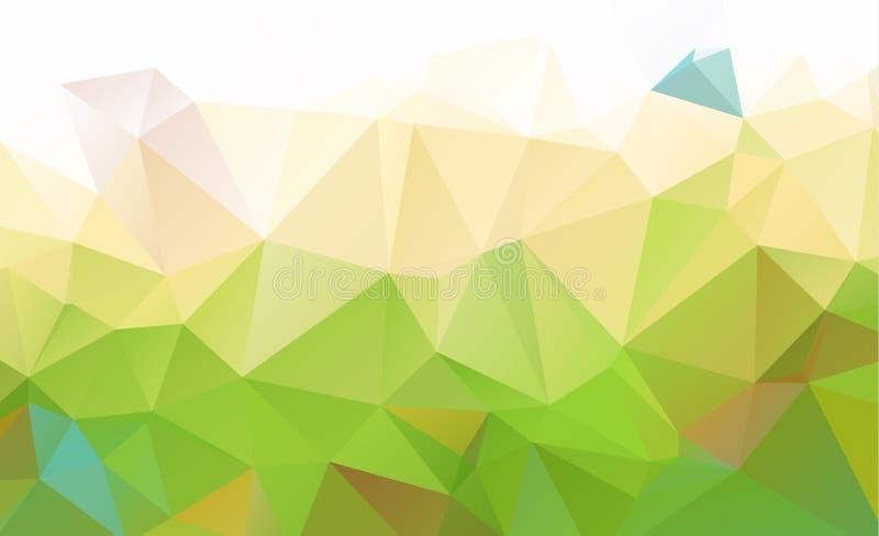 包括三角的抽象绿色 几何的背景 库存例证