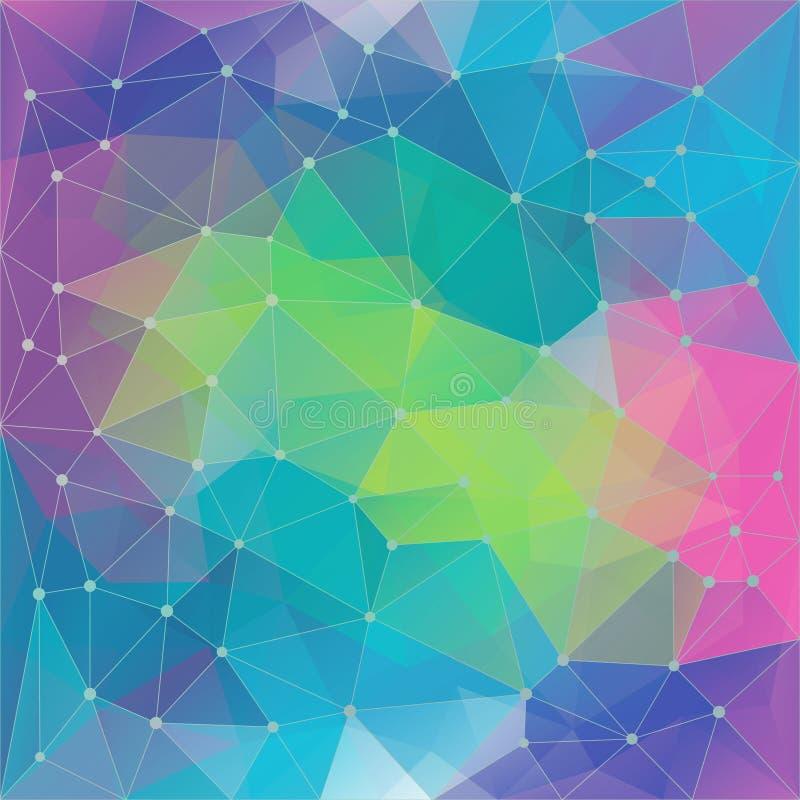 包括三角的摘要poligon几何colorfull背景 向量例证