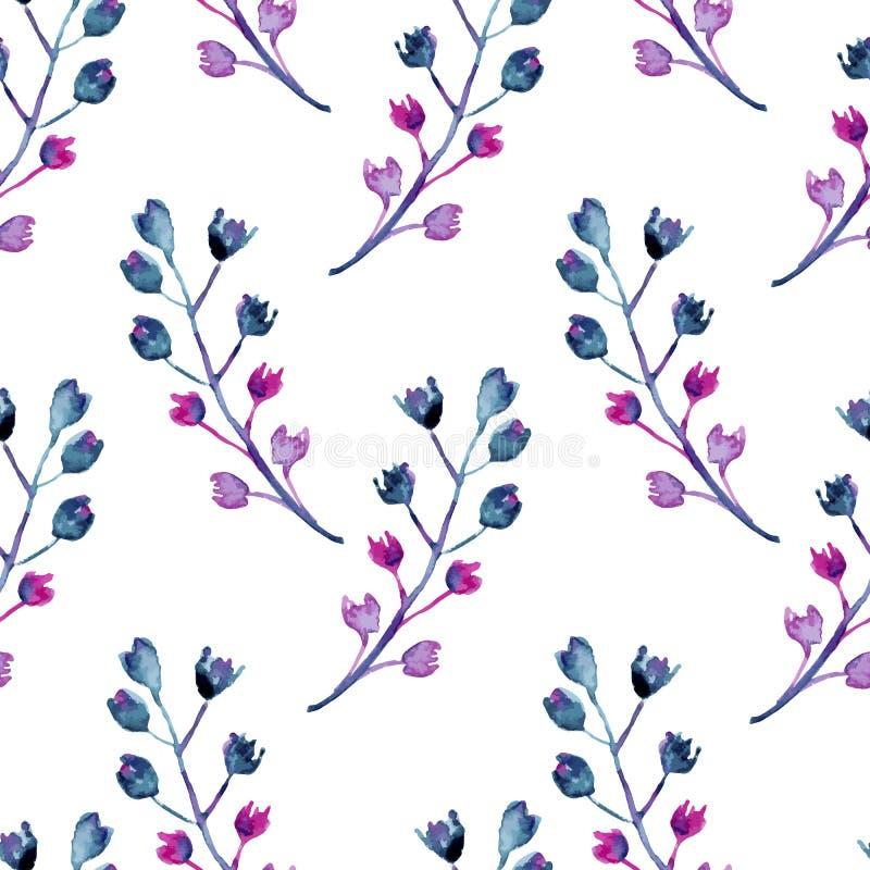 包括与小花的无缝的水彩背景装饰分支 皇族释放例证