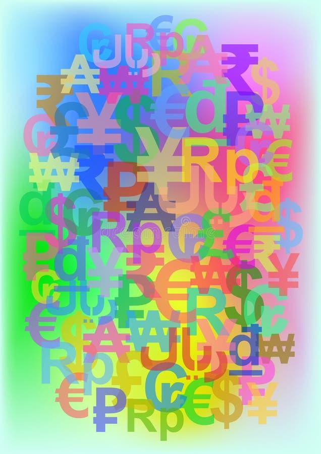包括世界货币的标志颜色背景 库存例证