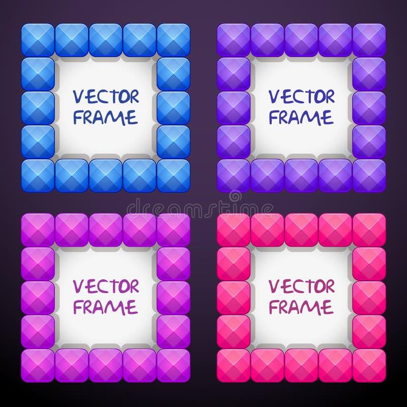 包括五颜六色的明亮的水晶块的摘要cteative方形的首饰框架 向量例证