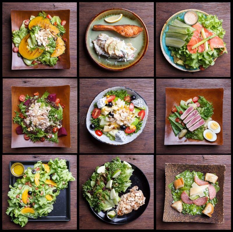 包括健康食物沙拉集合 水果沙拉,火腿烟肉,三文鱼, 免版税库存照片