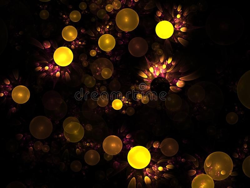 包括光亮球形或泡影的抽象分数维结构 高雅背景-光栅分数维3D球形图表 向量例证