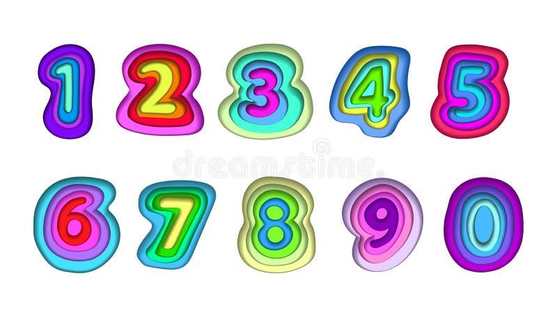 包括多彩多姿的零件的数字系列 皇族释放例证