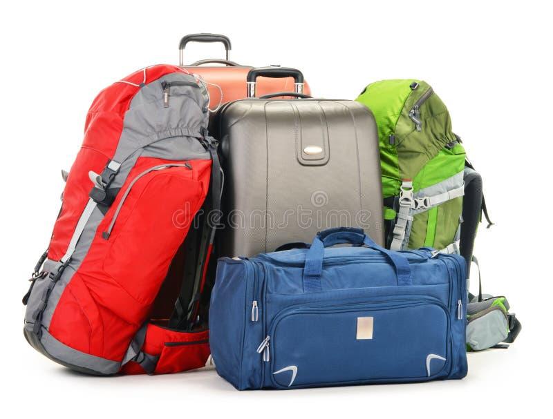 包括大手提箱背包和旅行的行李请求 免版税库存照片