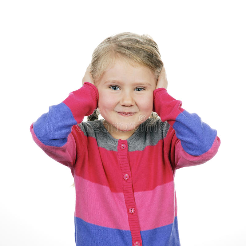包括她的耳朵的女孩 图库摄影