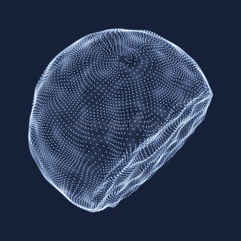 包括点的半球形 抽象栅格 半球形例证 3D网络设计 r ?? 库存例证