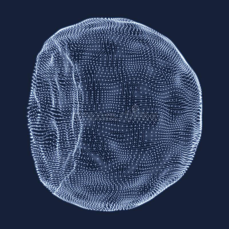 包括点的半球形 抽象网格 半球形例证 3D网络设计 概念查出的技术白色 库存例证