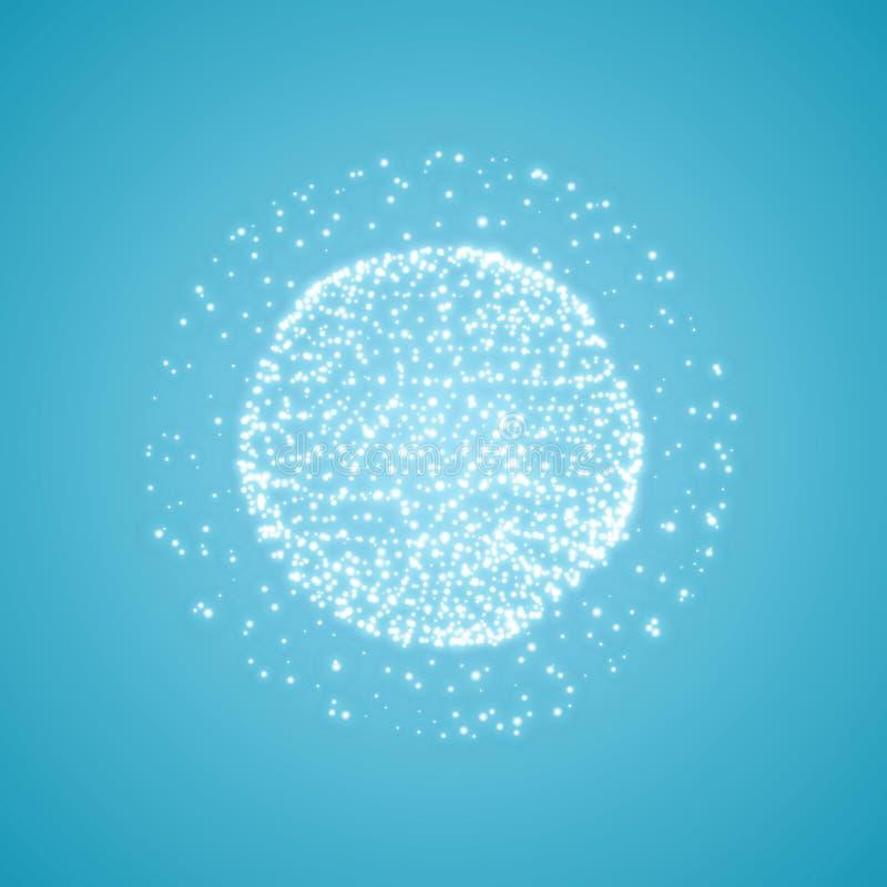 包括点的球形 全球性数字式连接 抽象地球栅格 Wireframe球形例证 抽象3D栅格 皇族释放例证