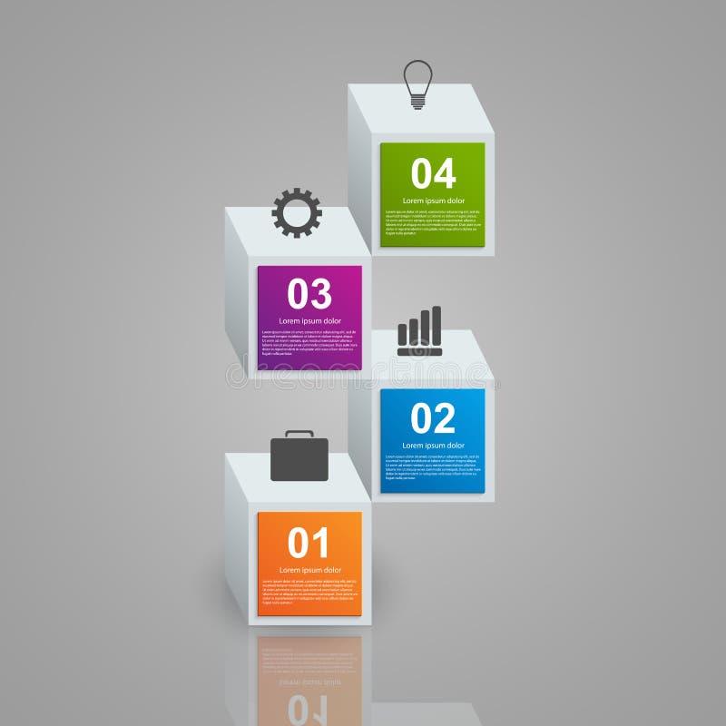 包括现实五颜六色的3d立方体的Infographics 背景设计要素空白四的雪花 库存例证