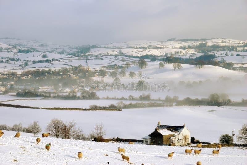 包括的农厂小山登陆小的雪 免版税图库摄影