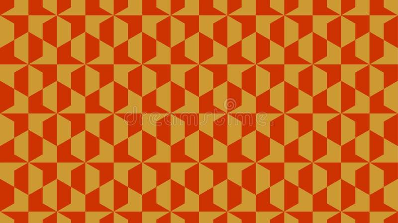 包括金子和橙色颜色,抽象几何样式的六角形状的小组的壮观的背景 库存照片