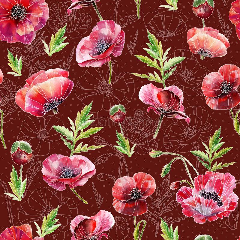 包括鸦片花的一个无缝的样式设计,手拉在水彩 现实绘画 墙纸的,纺织品设计 向量例证