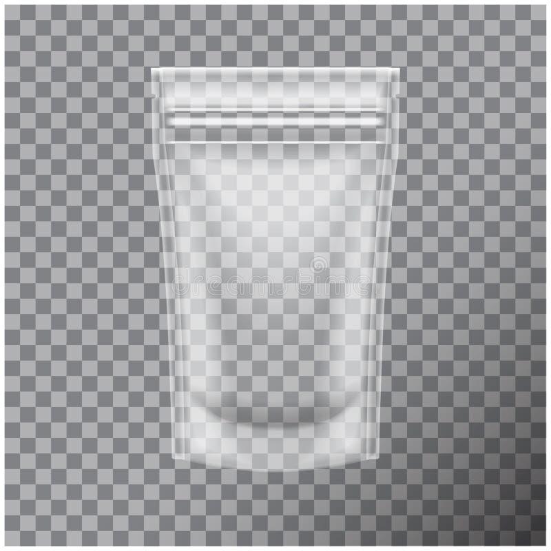 包装与拉链的透明箔食物或化妆组装囊香囊袋子 模板的传染媒介嘲笑 库存例证