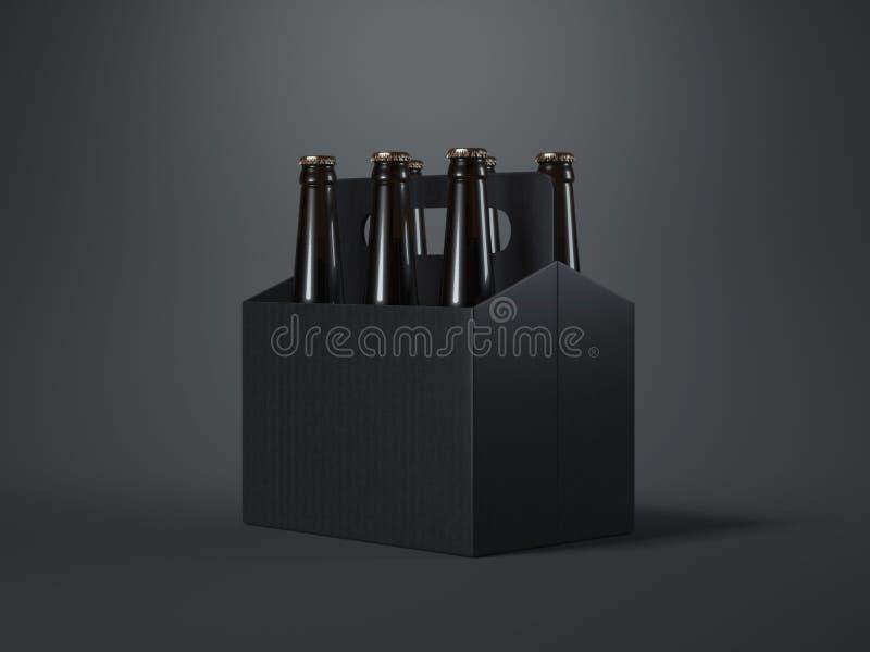 包装与棕色瓶的黑空白的啤酒 3d翻译 库存例证